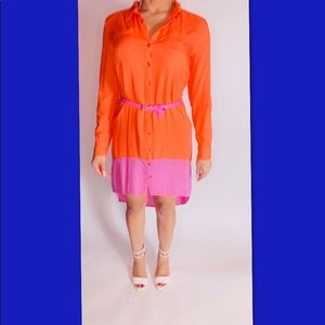 JS Colorblock Dress High Low Button Down